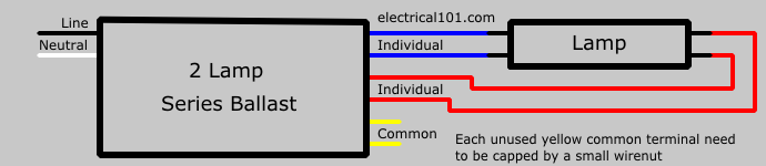 series ballast wiring electrical 101 2 lamp series ballast 1 lamp wiring diagram