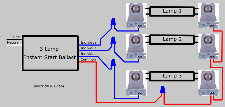 How to Replace 3 Lamp Parallel Ballasts - Electrical 101  Bulb Wiring Diagram V on