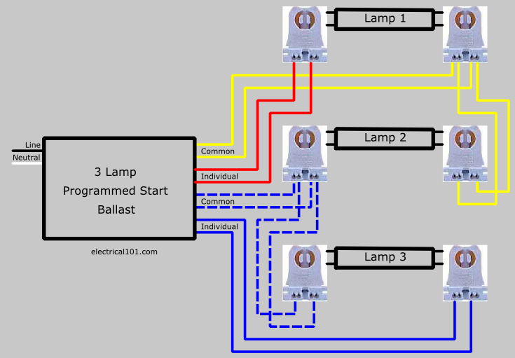 Rapid Start Ballast Lampholder Wiring 3 Lamps - Electrical 101  Electrical 101