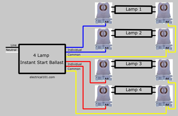 parallel ballast lampholder wiring electrical 101 rh electrical101 com wiring fluorescent light sockets single pin fluorescent lamp holder wiring