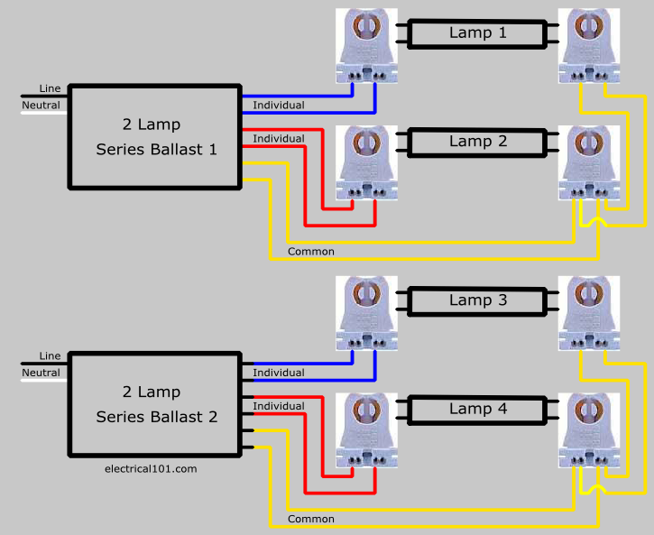 Wiring Diagram For Lamp : Series ballast lampholder wiring electrical