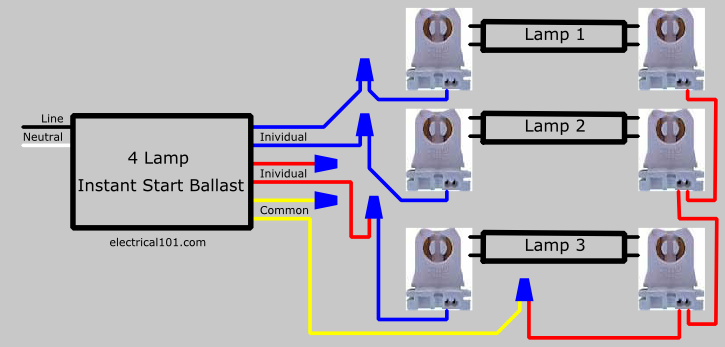 Replace 3 Lamp Parallel Ballast with 4 Lamp Parallel  Ballast Wiring Diagram
