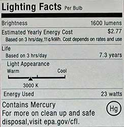Common CFL packaging label